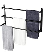 KOKOSIRI Bath Towel Bars Matte Black Bathroom 3-Tiers Ladder Towel Rails Wall Mounted Towels Shelves Rack Stainless Steel, B5002BK