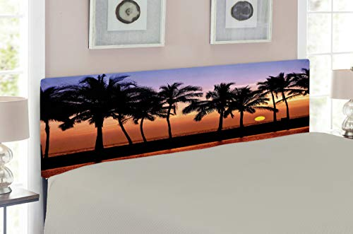 Ambesonne Hawaiian Headboard for Queen Size Bed, Hawaiian Sunset on Big Island Anaehoomalu Bay Ocean Romantic Resort, Upholstered Decorative Metal Headboard with Memory Foam, Lilac Dark Orange Black