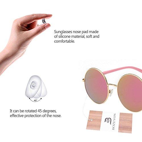 de Retro BOZEVON Lunettes soleil pour Lens Or femmes rose Round Style Circle xIadrwSqa