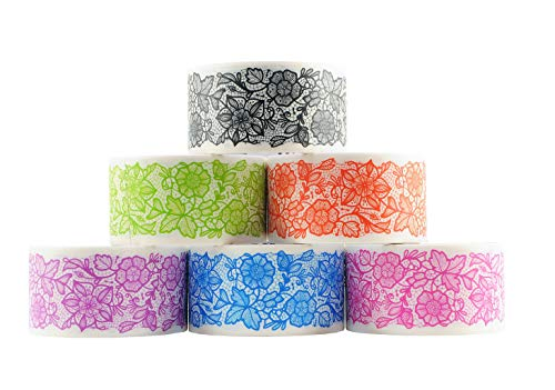 6 Roll Variety Pack of Decorative Duct Style Tape, Lace Tape, Each Roll 1.88 Inch x 5 Yards, Ideal for Scrapbooking - Decorating - Signage (6-Pack, Lace) ()