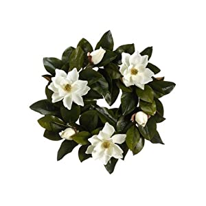 22″ Magnolia Wreath Cream (Pack of 2)