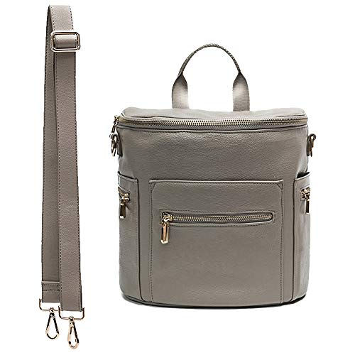 Leather diaper bag backpack by miss fong, Kids backpack, Mini Backpack for mom with In bag organizer, Insulated Pocket and shoulder strap (2019 New Grey)