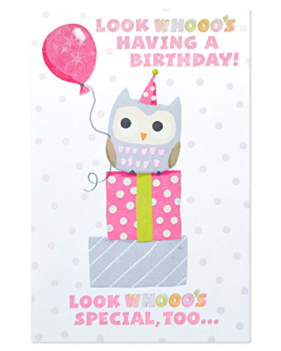 American Greetings Owl Birthday Card for Girl with Foil