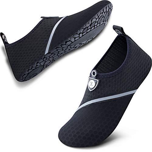 SIMARI Anti Slip Water Shoes for Women Men Summer Snorkeling Beach Swim Surf Pool SWS002 512 Black Black 11-12.5