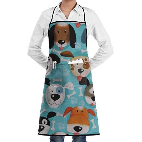Puppy Dogs Faces Bones Paw Cooking Apron Kitchen Apron Painter Apron, Lock Edge Waterproof Durable String Adjustable Easy Care Aprons for Women Men Chef