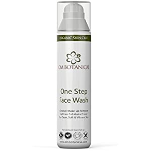 One Step Exfoliating Face Wash: 100% Natural and Organic Daily Facial Cleanser, Make-up Remover, Skin Toner and Best Acne Face Wash, Cream Cleanser For Men, Women, Teenager. No Parabens, Vegan