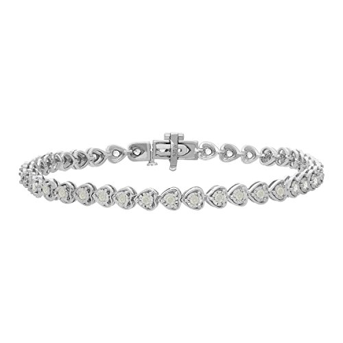 (Original Classics Sterling Silver Rose-Cut Diamond Certified Heart Link Tennis Bracelet (1.00 cttw, I-J Color, I3 Clarity))