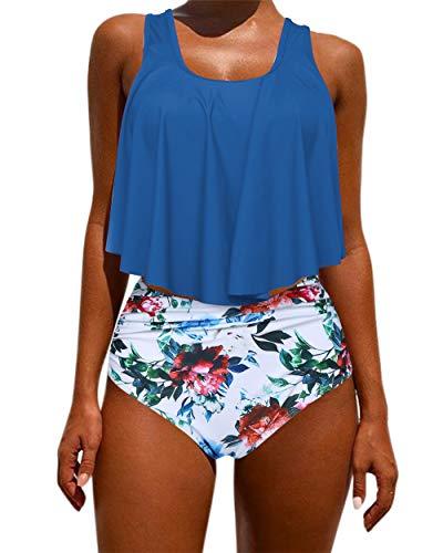 - OMKAGI Women's Ruffle Bikini Swimsuit High Waisted Bottom Plus Size Swimwear Tankini(S,Blue Flower)