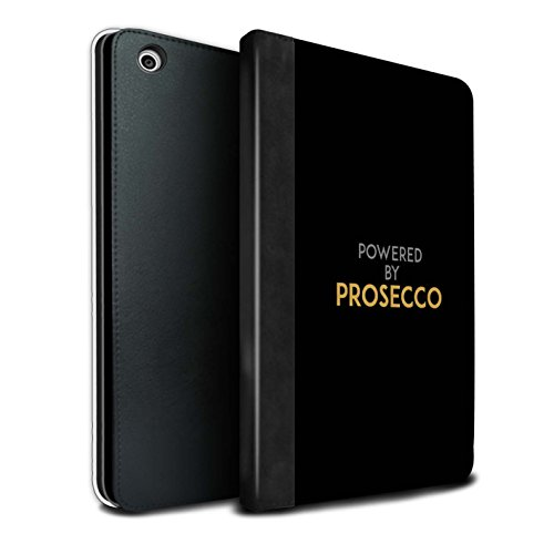 Prosecco Collection - STUFF4 PU Leather Book/Cover Case for Apple iPad Mini 1/2/3 tablets / Powered By / Black / Gold Design / Prosecco Fashion Collection
