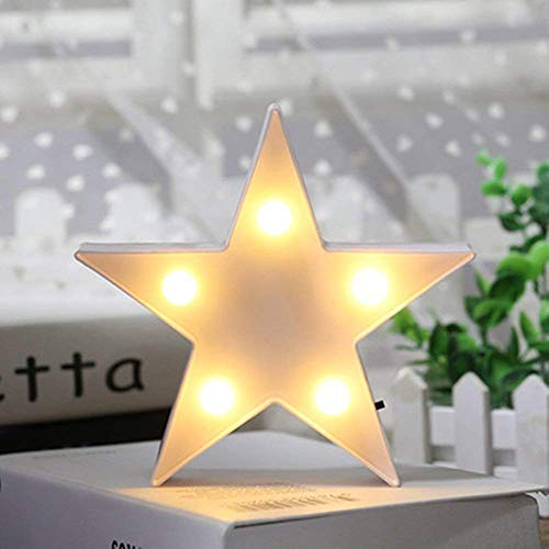 3D Star Light,LED Plastic Star Shaped Sign-Lighted Marquee Star Sign Wall Decor for Christmas,Birthday Party,Kids Room, Living Room, Wedding Party Decor,Romantic Deco Lamp Night Table Light(White)