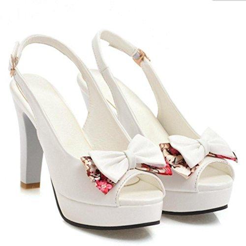 Sandals High Toe Peep TAOFFEN Fashion White Women Heel P1nwE8E7q