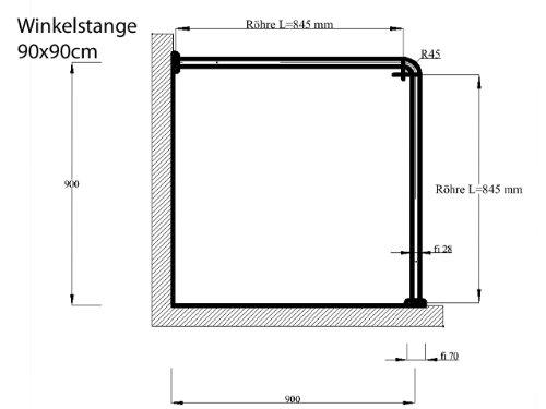 CHROM MATT 28 mm DUSCHVORHANGSTANGE 90x90 cm Eloksiert ALU WINKELSTANGE Eckstange 2er SILBER Eloxiert EXTRA DICK