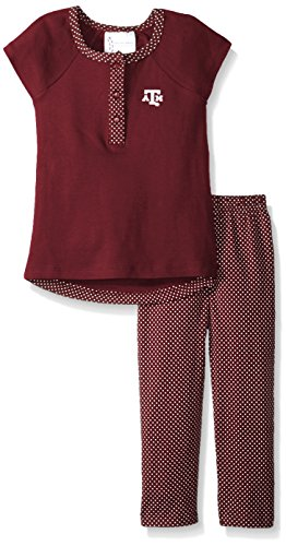 - Two Feet Ahead NCAA Texas A&M Aggies Children Girls Pin Dot Legging Set,3,Maroon