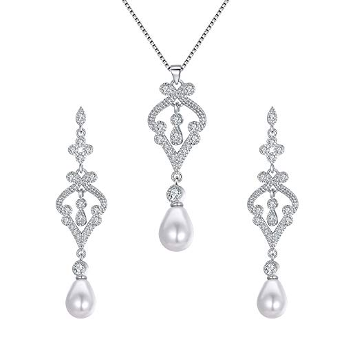 EVER FAITH 925 Sterling Silver CZ Simulated Pearl Vase Chandelier Drop Necklace Earrings Set