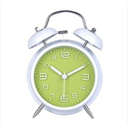 Bedside SUPER LOUD Classic Twin Bell Alarm Clock with Back light Designed for Heavy Deep Sleepers - Vibrant Green With White