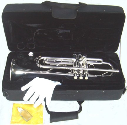 YMC Trumpet New Concert Band Real Silver plated Trumpet with Case by YMC