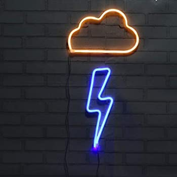 Neon Lights 2 Packs Blue Lightning Bolt +Yellow Cloud Battery and USB Powered Wall Art LED Decorative Lights for Bedroom Party Decoration(CLD+LNBB)