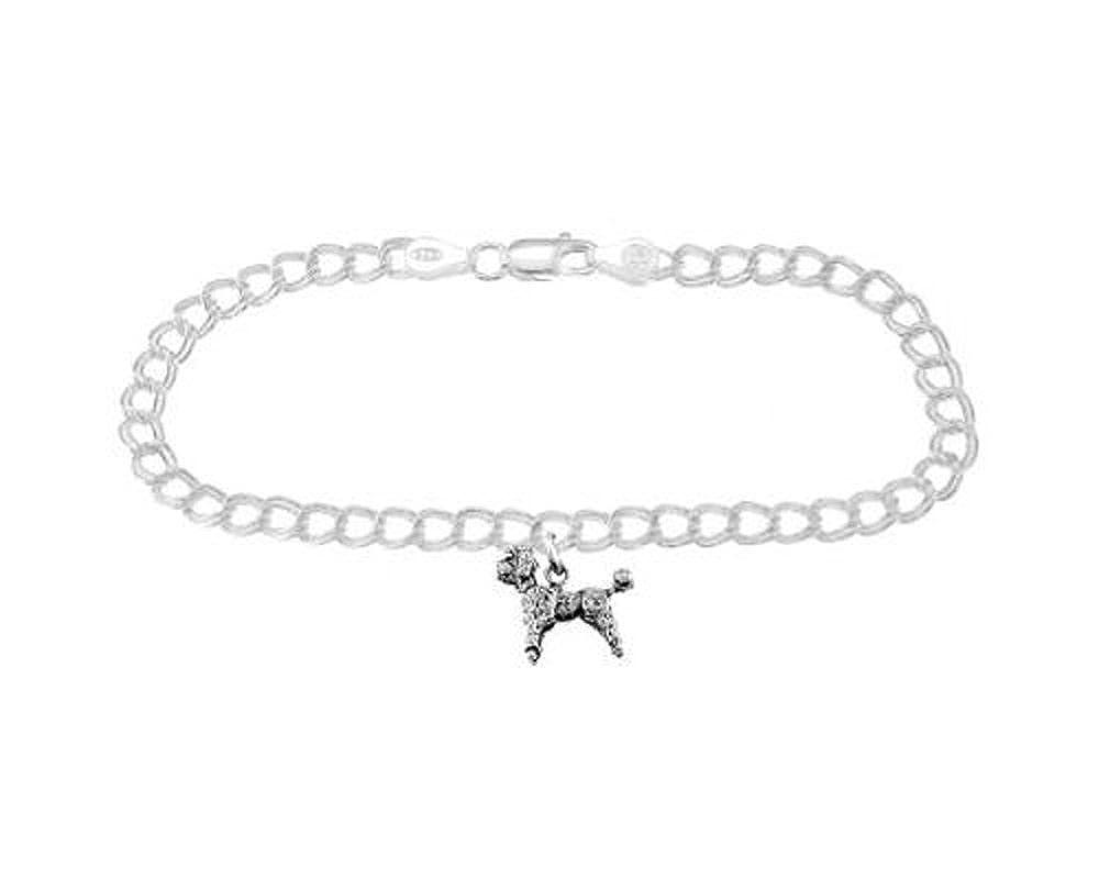 Sterling Silver Poodle Dog on 4 Millimeter Charm Bracelet