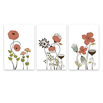 3 Panel Hand Drawing Style Flowers on White Background x 3 Panels, With Expert Quality, Unbelievable Design