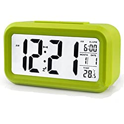LED Digital Alarm Clock,Silent Morning Sound Control Desk Clock,Big Screen Large Numbers with Smart Backlight,Multifunctional Time Date Temperature Display,Snooze for Heavy Sleepers Great for Travel