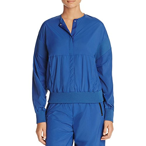 Dkny Puffer Jacket - DKNY Womens Ribbed Trim Long Sleeves Anorak Jacket Blue P