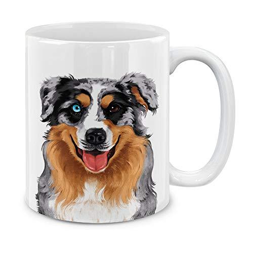(MUGBREW Cute Merle Aussie Australian Shepherd Dog Full Portrait Ceramic Coffee Gift Mug Tea Cup, 11)