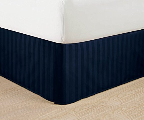 Luxurious Egyptian Quality Weave STRIPE Bed Skirt - Pleated Tailored 14