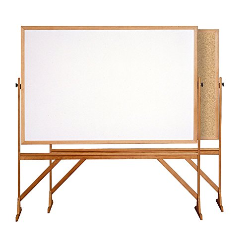 Ghent 4' x 6' Wood Frame Mobile Reversible Free Standing Melamine Markerboard / Natural Corkboard