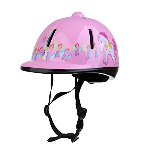 Dolity Kids Schooling Helmet, Toddlers Adjustable Horse Riding Helmet, Young Equestrian Riders Head Protective Gear - Pink