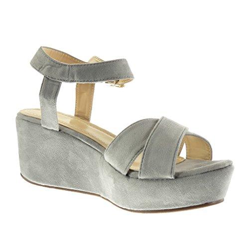 Angkorly - Scarpe da Moda sandali con cinturino alla caviglia zeppe donna fibbia Tacco zeppa piattaforma 7 CM - Grigio