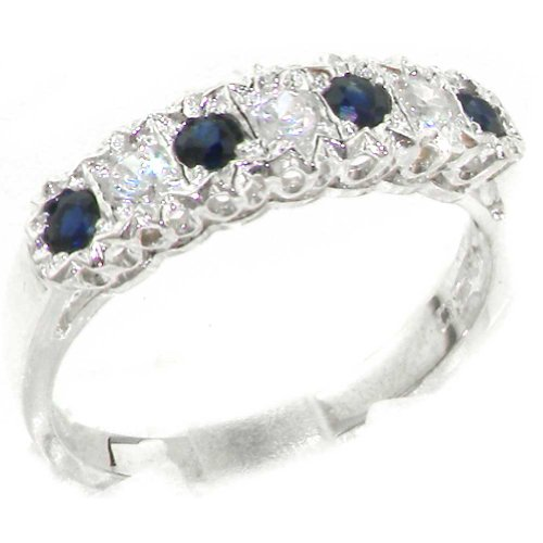 925 Sterling Silver Natural Sapphire and Diamond Womens Eternity Ring (0.18 cttw, H-I Color, I2-I3 Clarity) by LetsBuySilver