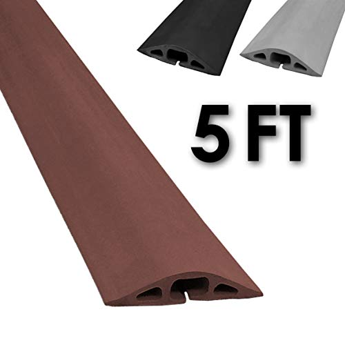 D-2 Rubber Duct Cord Cover - Length: 5FT - Color: Brown Cable Protector (Outdoor Cover Cord)