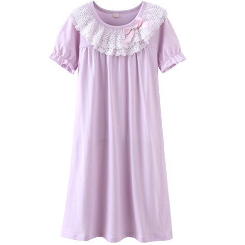 DGAGA Little Girls Princess Nightgown Cotton Lace Bowknot