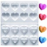 Amurgo 1 Pack Diamond Heart Silicone Mold for Valentine's Day, 8 Cavities Non-stick Easy Release Heart Shaped Silicone Mold Tray for Ice Cube, Mousse Cake Dessert, Candy, Hot Chocolate Cocoa Bomb Mold