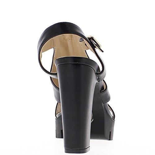 Grande 12 cm de tacón negro sandalias