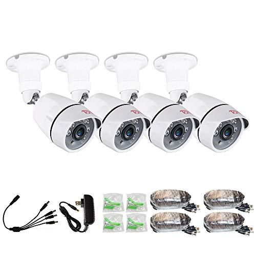 Tonton 4 Pack 1080p Outdoor Indoor Day Night Vision Weatherproof 6pcs IR Infrared LEDs Security Cameras Kits, 120ft IR Distance, Aluminum Metal Housing