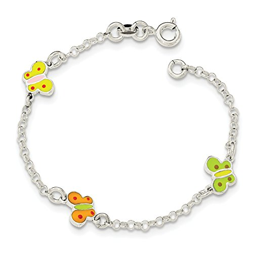 925 Sterling Silver Childrens Enameled Butterfly Bracelet 6 Inch Fine Jewelry Gifts For Women For Her