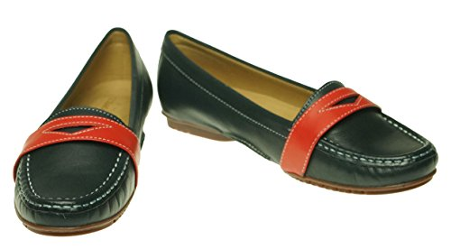 Sebago Womens Meriden Penny Loafer Navy/Red Leather wLBPjg9