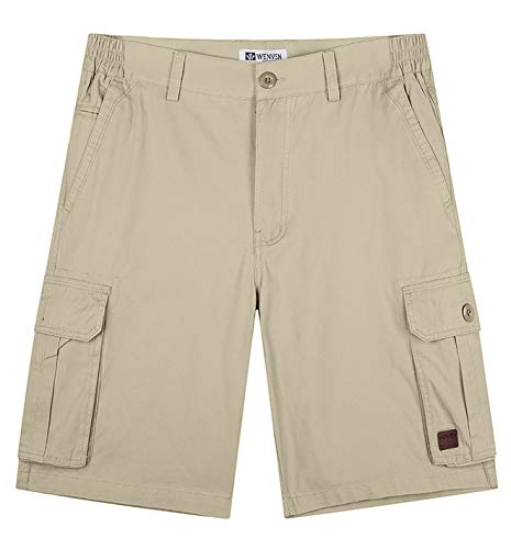 WenVen Men's Cotton Shorts Relaxed Fit (Khaki, 32) ()
