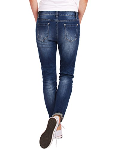 Blu Destroyed Boyfriend Baggy Donna Fraternel Used Jeans Scuro OFHAqZ
