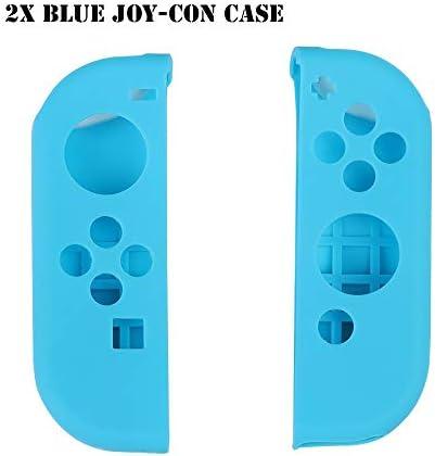 HTBG 任天堂スイッチゲームアクセサリー用シリコーン滑り止め保護スキンケースカバーグリップジョイスティックキャップシェルラップコンソールバンパー (Color : 2X Blue Joy con Case)
