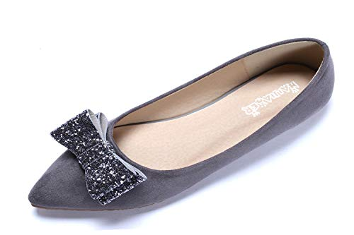 - CANPPNY Comfortable Classic Flats Women's Shoes Bow Slip On Ballet Flats Gray Dress Shoes