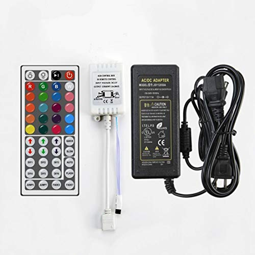 iRofa 44 Key IR Remote Controller and Adapter for RGB Flexible LED Light Strip ()