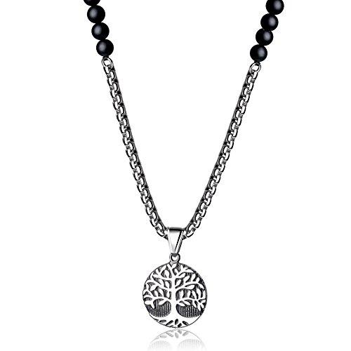 Beaded Pendant Necklace - COAI Mens Tree of Life Skull Pendant Onyx Stone Beaded Mala Necklace