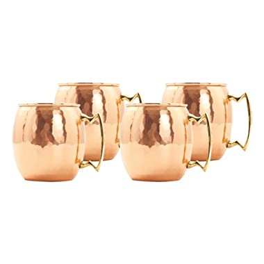 Old Dutch 16-Ounce Solid Copper Hammered Moscow Mule Mug, Set of 4
