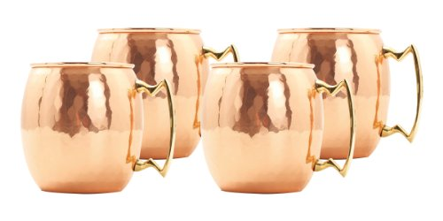 Old Dutch 16 Oz. Nickel-Lined Solid Copper Hammered Moscow Mule Mug, Set of ()
