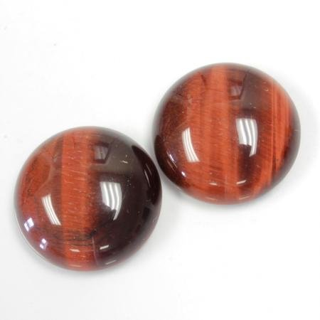 (20mm Round Genuine Red Tigereye Calibrated Cabochon 2 Piece Lot Flat Back DIY Jewelry Making)