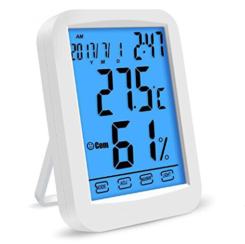 ZivaTech Digital Hygrometer Room Thermometer Gauge Smart Indoor Temperature Humidity Monitor with Touchscreen and Backlight
