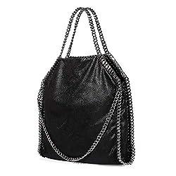 Women Chain Shoulder Bag Pu Leather Large Women?��s Tote Fashion Chain Handbag Black