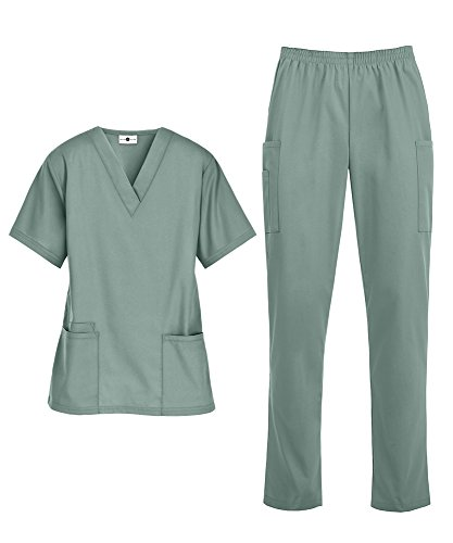 Women's Medical Uniform Scrub Set - Includes V-Neck Top and Elastic Pant (XS-3X, 14 Colors) (X-Large, Seaspray)